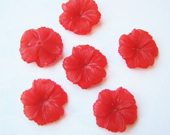 Lucite Flower Blossoms in Bright Red 18mm(8)b2400