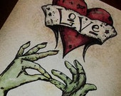 "Zombie Anniversary Love  ""The Kiss""  Card Romantic  5x7 Greeting Card Blank inside by Agorables Undead"