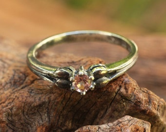 Funky sterling silver ring with pink tourmaline gemstone