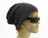 Mens Slouchy Beanie Crochet Slouch Grunge Beanie Charcoal Grey Hipster Hat