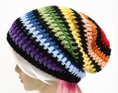 Rainbow Slouchy Beanie Crochet Slouch Hipster Hat Mens or Womens Slouch Beanie