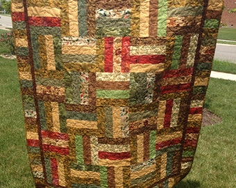 Pattern for Variations on a Rail Fence Lap Quilt Strip piecing