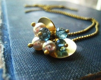 London blue necklace, vintage pearls, brass discs, beaded brass chain, cluster pendant