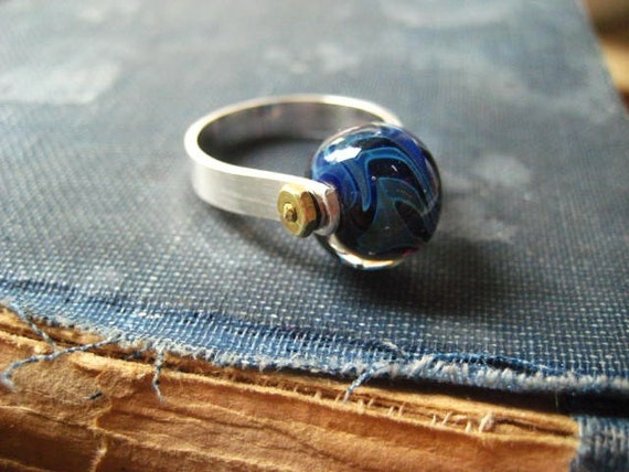 SPECIAL ORDER for Nellie ONLY blue lampwork ring glass round bead brushed finish sterling silver borocicate glass