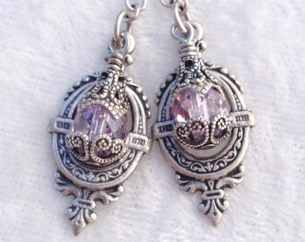 Pretty in Purple- Antiqued Silver and Beaded Earrings