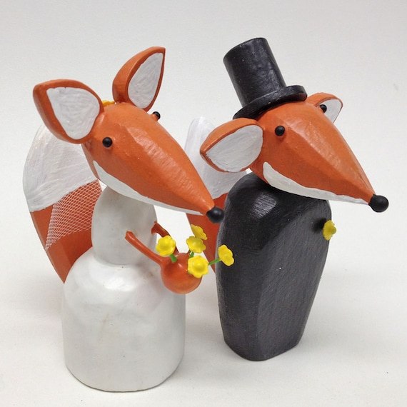 Fox Wedding Cake Toppers | Bride and Groom Fox | Gay Wedding Cake Toppers | Custom Fox Wedding Cake Toppers | Forest Wedding Cake Topper