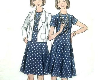 Vintage 60s 70s Butterick Mod A Line Dress and Jacket Sewing Pattern 40 Bust Mad Men Era Cute Outfit