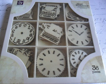 Pretty Prima Vintage Style Wood Icons in a Box....Typewriters and Clocks