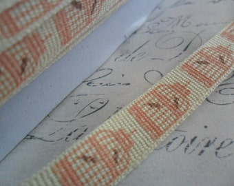 9/16 Cotton Twill Tape Printed with Bird Cages Pink and Brown