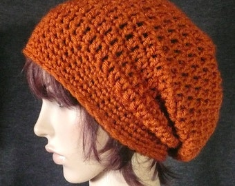 Super Slouchy Beanie in Rust Orange - Super Length