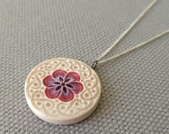 small plum blossom necklace, plum and mocha ... porcelain jewelry by Sofia Masri
