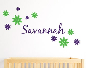 Childs Name Wall Decal with Flower Decals - Personalized Name Wall Decal - Flower Wall Decal - Teen Girl Decals - Baby Name Decal - ND15
