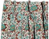 Mid-century  Barkcloth Drapes, Pair - Turquoise Brown Draperies - Cotton Bark Cloth Drapes - Madmen Era Curtains - Retro Frabric