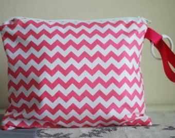 Pink White Chevron -  Zippered Wet Bag with Handle/Link Loop Combo
