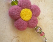 Needle Felted Wool and Bead  Flower Hanger