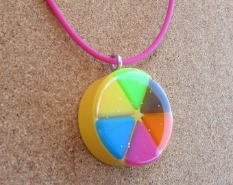 Yellow - Upcycled Trivial Pursuit pendants