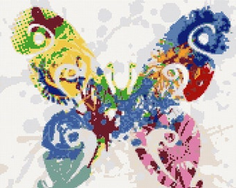 Abstract butterfly counted cross stitch kit