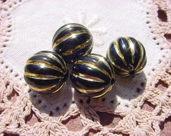 Ebony Golden Fluted Melon Vintage Lucite Beads