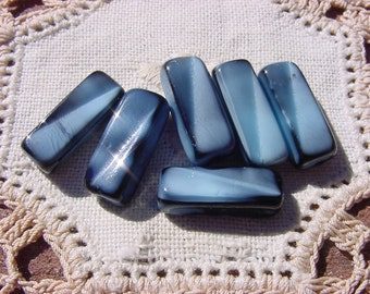 The Blue and the Gray/Ebony Vintage Glass Beads