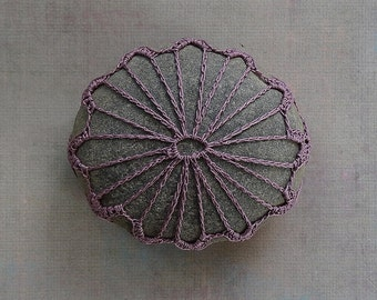 Crochet Lace Stone, Original, Handmade, Table Decoration, Tribal, Art Object, Collectibles, Home Decor, Soft Purple