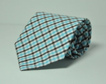 Men's Necktie - Blue and Brown Plaid Men's Tie - Fall Plaid Necktie