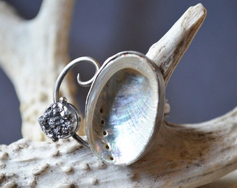 Moon Mermaid Ring Made With Real Abalone Shell