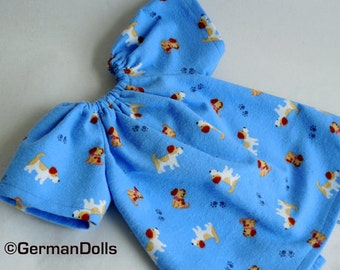 12 inch Doll Clothes - small Puppy Nightgown -  doll dress for waldorf style dolls