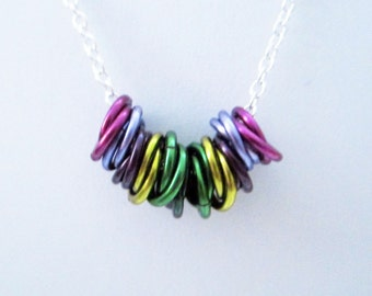 Lavender Fields Mobius Rings Necklace Handmade