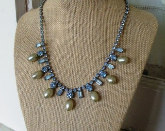 FREE SHIPPING Vintage Blue Rhinestone and Faux Pearl Necklace