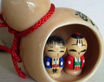 Vintage Kokeshi Doll Mini Display