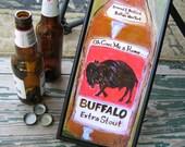 Buffalo Art - Beer Art - Buffalo Extra Stout - Buffalo Print - Framed Canvas Art Print -  6 x 16 inches - Buffalo NY - Gift for Him