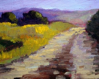 Country Road Landscape Oil Painting, Small Original, Oregon Trees, Meadow, Field on Canvas, 4x6 Wall Decor, Miniature Purple, Green Scene