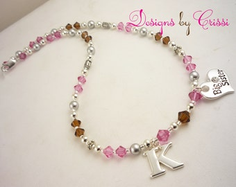 Big Sister Necklace with Personalized Initial Charm - pink and brown or choose any colors