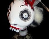 Lizzie - Monster Creepy Horror Gothic Handmade Folk Art Primitive Doll Head
