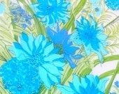Aquamarine Chrysamthemums - a rare, Vera Neumann Lucky Ladybug Pure Silk Scarf - 34 inches - MINT