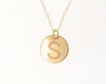 Gold Initial Necklace - Engraved Personalized Disc Necklace, 14k Yellow, White, or Rose Gold Disk Pendant