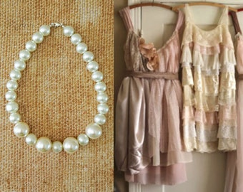 Large Pearl Vintage Style Wedding Necklace, Bridesmaids Pearl Necklace Set, Choker Pearl Necklace
