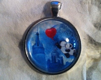 Pandas Kissing Over New York City. Wedding Favor. Love. Red Heart. Panda Art Jewelry. Real Glass. 1 Inch Circle Pendant.