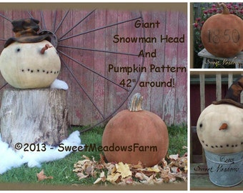 Primitive E- PATTERN Giant Pumpkin and Snowman Head PDF