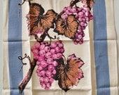 Vintage Linen Towel - Pinky Purple Grapes - Unused MWT