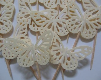 Butterfly Cupcake Toppers - Ivory - Bridal Showers - Wedding Decorations - Baby Showers - Gender Neutral - Birthday Parties - Set of 12