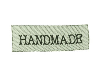 100 pieces-Woven Fabric Handmade Labels - White with black Font