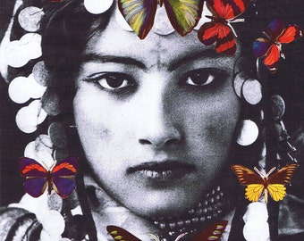 Collage.Print.Gift.Butterflies.Arab.Algerian, Egyptian.unique/Bold.Vintage Photo.100% recycled paper.home decor,exotic.ethnic