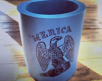 MERICA- Hand-printed Beer Coozie