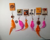 Six Orange & Pink Feather Earrings On Vintage Matchbooks For The Price Of One  SAAAALLLLLEEE