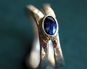 Gemstone Ring - Silver Ring - Engagement Ring - Unique RIng - Wedding Ring - Imitation Tanzanite Blue Gemstone - December Birthstone