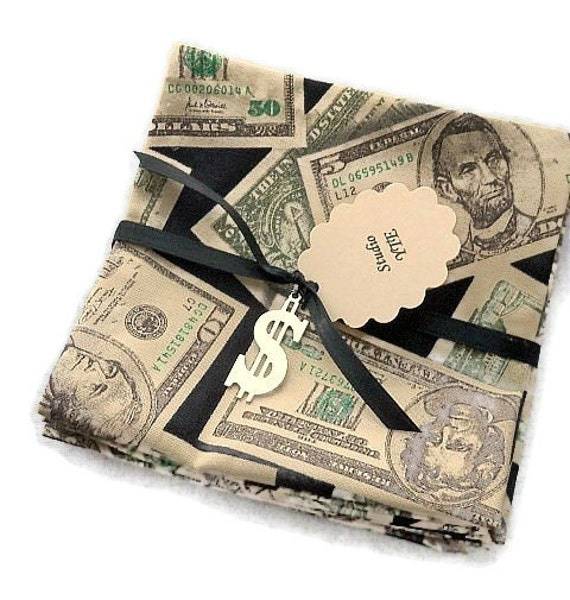 Cotton Cocktail Napkins Beverage Napkins Appetizer Napkins - Money, Dollars, Bucks - set of 6
