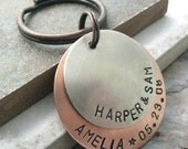 Personalized Keychain, 2 Layers, 8 Metal Options, Option 1 pictured, gifts under 20, mother's day gift, anniversary gift