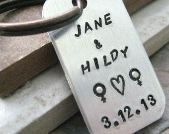 Personalized Lesbian Keychain, Lesbian Couples keychain, Lesbian wedding gift, hers and hers, lesbian engagement gift, customize this