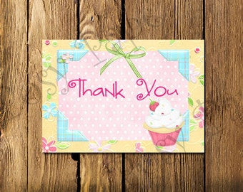 Printable Hey Cupcake Folded Thank You Cards - Instant Download